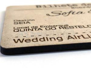 Convite Casamento Bilhete Avião