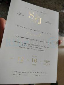 Convite Casamento Foil Dourado