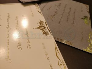 Convite Casamento Brilhante Dourado