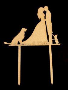 Topo de Bolo Casamento Cão & Gato