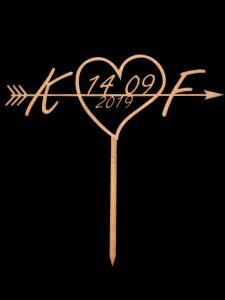 Topo de Bolo Casamento Coração K & F