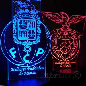 Símbolos FCPorto Benfica em Acrílico LED 3D